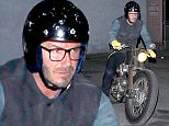 UK CLIENTS MUST CREDIT: AKM-GSI ONLY EXCLUSIVE: West Hollywood, CA - David Beckham rides his motorcycle to the Troubadour to catch the Mumford & Sons concert.  Pictured: David Beckham Ref: SPL1106740  200815   EXCLUSIVE Picture by: AKM-GSI / Splash News