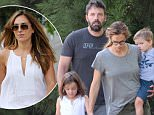 141436, EXCLUSIVE: Ben Affleck and Jennifer Garner take their children for a walk with the family dog. Still wearing their wedding rings, Jennifer and Ben took their 3 children Violet, Seraphina and Samuel to walk their puppy this morning. The family appeared happy and relaxed on their walk. At one point Ben dropped the pink leash while handing his coffee to Jennifer, which sent her running alongside Seraphina. Atlanta, Georgia - Friday August 21, 2015. Photograph: Thibault Monnier/RGK , © Pacific Coast News. Los Angeles Office: +1 310.822.0419 sales@pacificcoastnews.com FEE MUST BE AGREED PRIOR TO USAGE