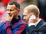 MANCHESTER, ENGLAND - AUGUST 22:  Ryan Giggs (C) coach of Manchester United talks with former Manchester United players Andy Cole (L) and Paul Scholes (R) prior to the Barclays Premier League match between Manchester United and Newcastle United at Old Trafford on August 22, 2015 in Manchester, England.  (Photo by Julian Finney/Getty Images)