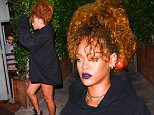 August 22, 2015: Rihanna wears an oversized Vetements hoodie while out for dinner in Los Angeles, CA.\nMandatory Credit: INFphoto.com Ref: infusla-309