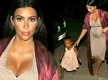 **PREMIUM EXCLUSIVE RATES APPLY** Kim Kardashian and baby north head out to dinner together in St Bart's