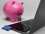 D6T5G1 Piggy At Computer Showing Investment Growth Banking
