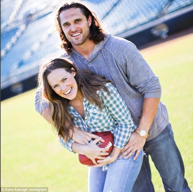 Parents-to-be: Kara Bosworth announced her pregnancy on Friday. She will welcome her little bundle of joy with NFL player husband Kyle around the time of their second wedding anniversary in early February 2016