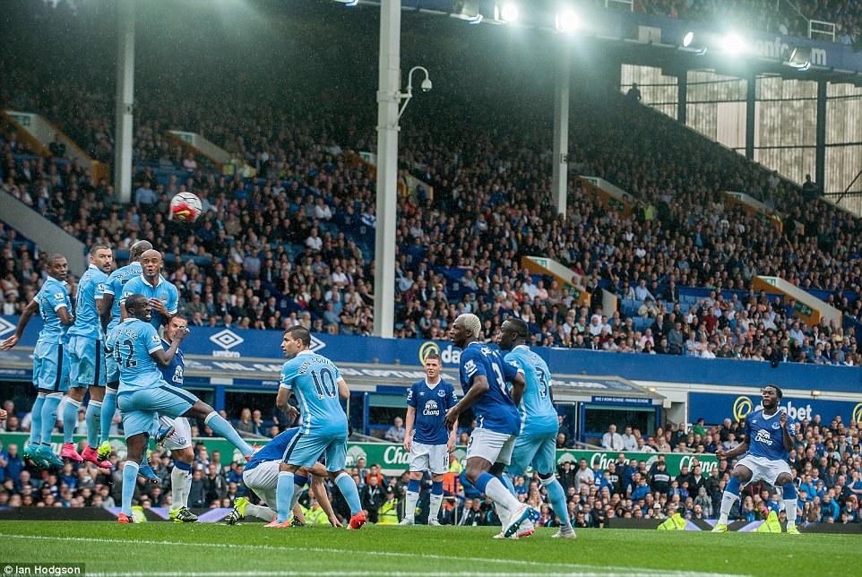 Lukaku attempts to curve the ball around a sizeable Manchester City wall during the first half but agonisingly finds only the cross bar