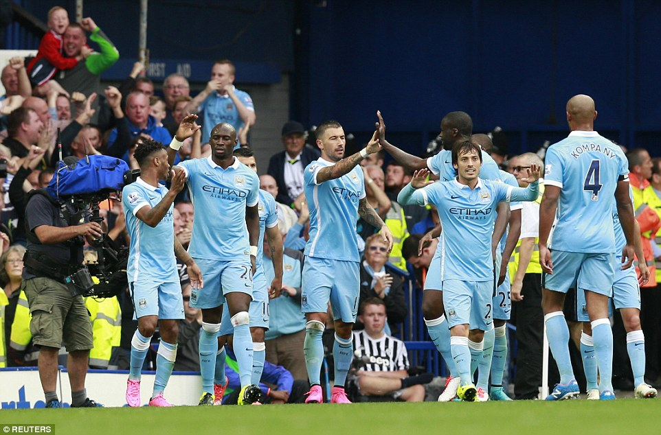 City players celebrate just before the hour mark as their perfect start to the Premier League season appeared to continue