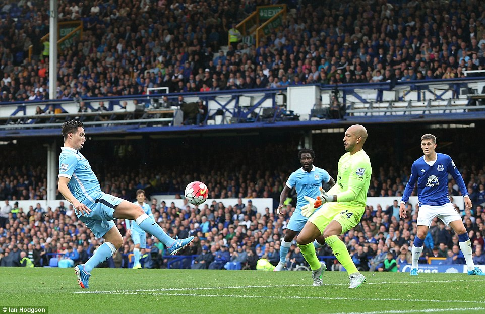 Nasri, a 76th minute substitute for Sterling, meets a bouncing ball flicked cleverly through by City midfielder Toure
