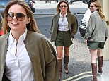 EXCLUSIVE ALL ROUNDER Geri Halliwell is seen on her way to a photoshoot in north london, geri looked great in her high waisted green shorts and matching green jacket with a tight white shirt.\n21 August 2015.\nPlease byline: Vantagenews.co.uk