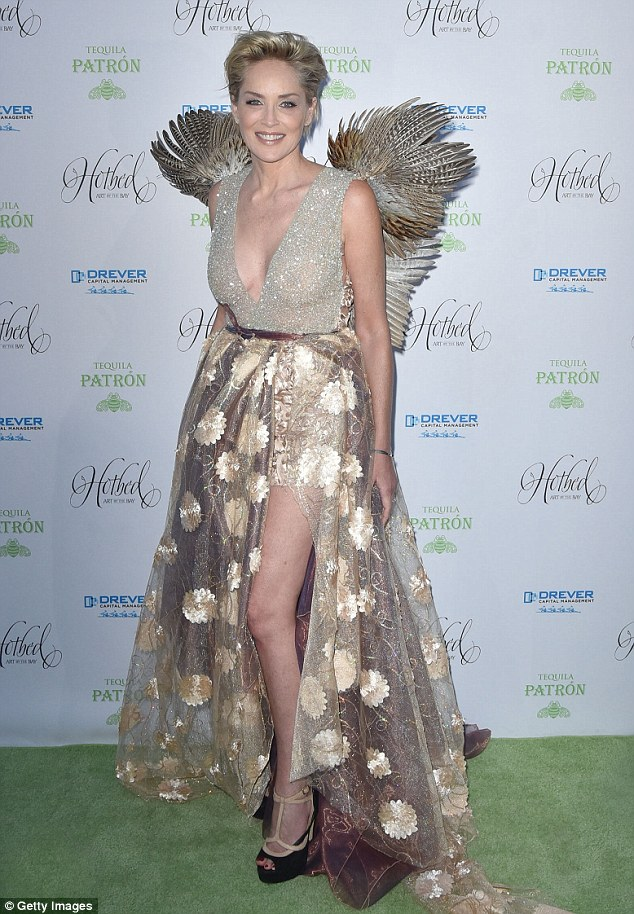 Spreading her wings! Sharon Stone was impossible to miss in her mythical gown, which was complete with human-sized feather wings, at the Hotbed Gala in Tiburon, California on Saturday