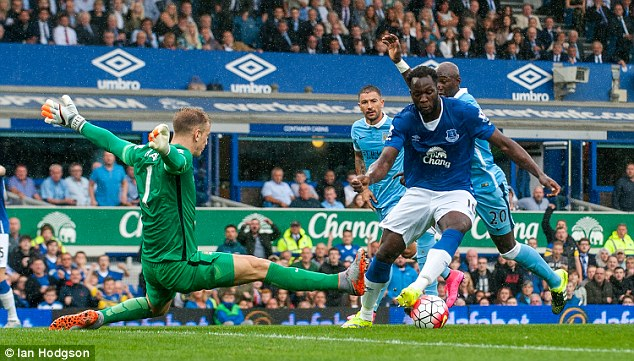 Everton's Belgian striker Romelu Lukaku had a goal disallowed for a marginal offside call in the first half