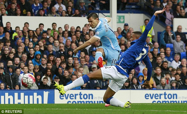 Sergio Aguero shoots under pressure but did not score in City's 2-0 victory at Goodison Park