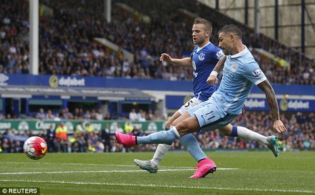 City defender Aleksander Kolarov (right) opened the scoring from an acute angle