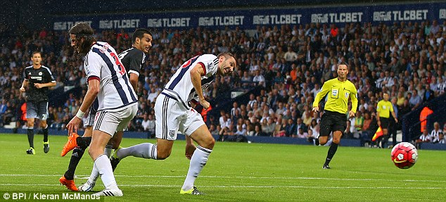 Pedro hit a left footed shot for the Blues' opening goal in their 3-2 Premier League win over West Brom