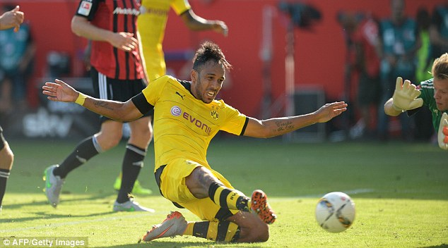 The Gabon striker slid in the complete a comfortable win for Dortmund