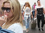 Katie Price and husband Kieran Hayler jet out of Glasgow Airport after a party at the city's POLO Lounge in Glasgow on Saturday night. 23rd August 2015\n(EXLUSIVE ALLROUNDER)\nThe tanned blonde jetted out of Glasgow airport along with husband Kieran and ever-faithful hairstylist Mikey Kardashian. They were at  the polo lounge in Glasgow for the Scottish city's pride event.\nPicture shows -  Katie Price and husband Kieran Hayler jet out of Glasgow Airport \nPictures by : Stephen Gibson / Buchanan Photos © 2015 UK\nTel - 077770534057, Email : ste1919@hotmail.co.uk\n