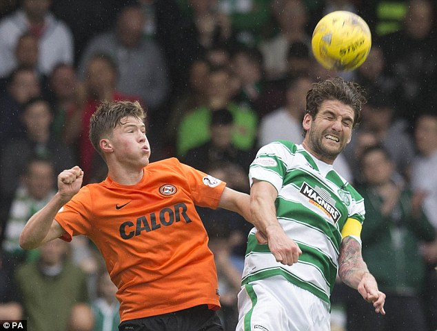 Charlie Mulgrew (right) stood in as Celtic captain for Scott Brown in Saturday's 3-1 win at Dundee United