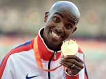 Great Britain's Mo Farah collects his Men's 10000m gold medal on the podium, during day two of the IAAF World Championships at the Beijing National Stadium, China. PRESS ASSOCIATION Photo. Picture date: Sunday August 23, 2015. See PA story ATHLETICS World. Photo credit should read: Adam Davy/PA Wire. RESTRICTIONS: Editorial use only. No transmission of sound or moving images and no video simulation. Call 44 (0)1158 447447 for further information