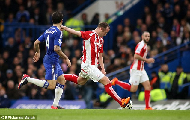 Stoke midfielder Charlie Adam lines up an audacious shot from 66 yards against Chelsea at Stamford Bridge