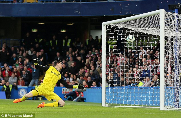 Chelsea goalkeeper Thibaut Courtois watches as the ball goes over his head and into the back of the net
