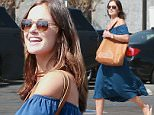 Picture Shows: Minka Kelly  August 21, 2015\n \n Former 'Friday Night Lights' actress Minka Kelly enjoys a sushi lunch at Sugarfish restaurant in Los Angeles, California.\n \n Minka wore a casual ensemble for her day out consisting of an off-the-shoulder blue dress paired with a tan leather tote and flip-flops.\n \n Exclusive All Rounder\n UK RIGHTS ONLY\n FameFlynet UK © 2015\n Tel : +44 (0)20 3551 5049\n Email : info@fameflynet.uk.com