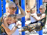 Gwen Stefani is all smiles as she rides a swing with her son Apollo at a park in Los Angeles. \n\nPictured: Gwen Stefani and Apollo Rossdale\nRef: SPL1108256  230815  \nPicture by: splash news\n\nSplash News and Pictures\nLos Angeles: 310-821-2666\nNew York: 212-619-2666\nLondon: 870-934-2666\nphotodesk@splashnews.com\n