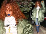 UK CLIENTS MUST CREDIT: AKM-GSI ONLY\nEXCLUSIVE: Malibu, CA - Rihanna  arrives for a low-key sushi dinner at Nobu in Malibu. The 27-year-old pop star dressed down in an oversized bomber jacket over a Belgium t-shirt and ripped jeans..\n\nPictured: Rihanna\nRef: SPL1109228  240815   EXCLUSIVE\nPicture by: AKM-GSI / Splash News\n\n