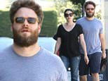 Please contact X17 before any use of these exclusive photos - x17@x17agency.com   EXCLUSIVE - Seth Rogen and wife Lauren Miller go casual for Sunday brunch in West Hollywood, CA. The comedian is dressed down in a grey t-shirt and shorts. Sunday, August 23, 2015. X17online.com