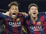 Barcelona's Luis Suarez, Neymar and Lionel Messi celebrate a goal against Atletico Madrid during their Spanish First Division soccer match at Camp Nou stadium in Barcelona, Spain.  January 11, 2015.   REUTERS/Albert Gea (SPAIN - Tags: SPORT SOCCER) - RTR4KYRV X01398