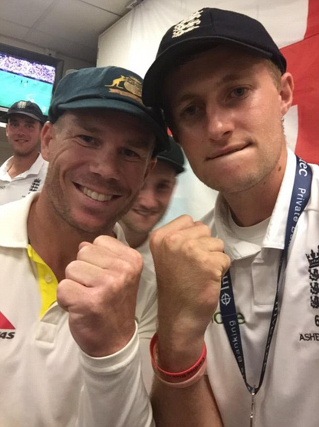Joe Root (right) and David Warner appeared to put their differences aside after a row dating back to 2013