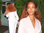 UK CLIENTS MUST CREDIT: AKM-GSI ONLY\nEXCLUSIVE: Santa Monica, CA - Rihanna steps out after another dinner at Giorgio Baldi, her favorite restaurant in Santa Monica. The 27-year-old pop star ran into Cuba Gooding, Jr. at the low-key Italian eatery. The famous duo shared a friendly hug before they went their separate ways. Rihanna looked stylish in a pink gingham pantsuit with a matching pair of embellished pink shoes.\n\nPictured: Rihanna\nRef: SPL1110818  260815   EXCLUSIVE\nPicture by: AKM-GSI \n\n