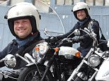 Dermot O'Leary is seen in primrose hill on his Triumph Bonneville motorcycle  Pictured: Dermot O'Leary Ref: SPL1111411  280815   Picture by: Neil Warner / Splash News  Splash News and Pictures Los Angeles: 310-821-2666 New York: 212-619-2666 London: 870-934-2666 photodesk@splashnews.com
