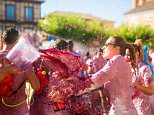 """Mandatory Credit: Photo by NurPhoto/REX Shutterstock (4993488i)  A man pours red wine on a woman's head during the """"Batalla del Vino"""" (Battle of Wine) in Toro (Zamora)  Battle of Wine, Toro, Zamora, Spain - 24 Aug 2015  Toro, a small village of Spain known for having Toro wine appellation, celebrated the first battle of wine in the Main Square during the festivities of San Agustin, imitating the wine battle of Haro (La Rioja). Hundreds of people dressed in white cover each other in red wine with water pistols, back-mounted spraying devices, buckets and others"""