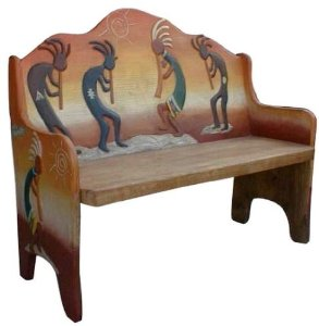 Amazon.com : Southwest Design Benches - Kokopelli Inspired Wood ...