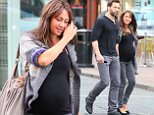 A heavily pregnant Samia Ghadie and her fiance Sylvain Lonchambon walk through Wilmslow town centre on Saturday afternoon after enjoying a long lunch together...... 29.8.15.