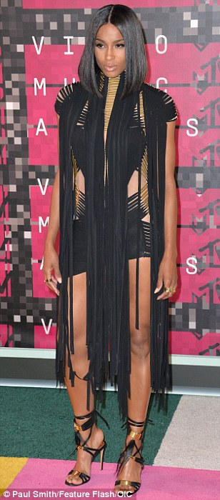Following suit: (L-R) Ciara (in Alexandre Vauthier), Charlotte McKinney and Emily Ratajkowski (in Altuzarra) also picked sexy black outfits for the bash