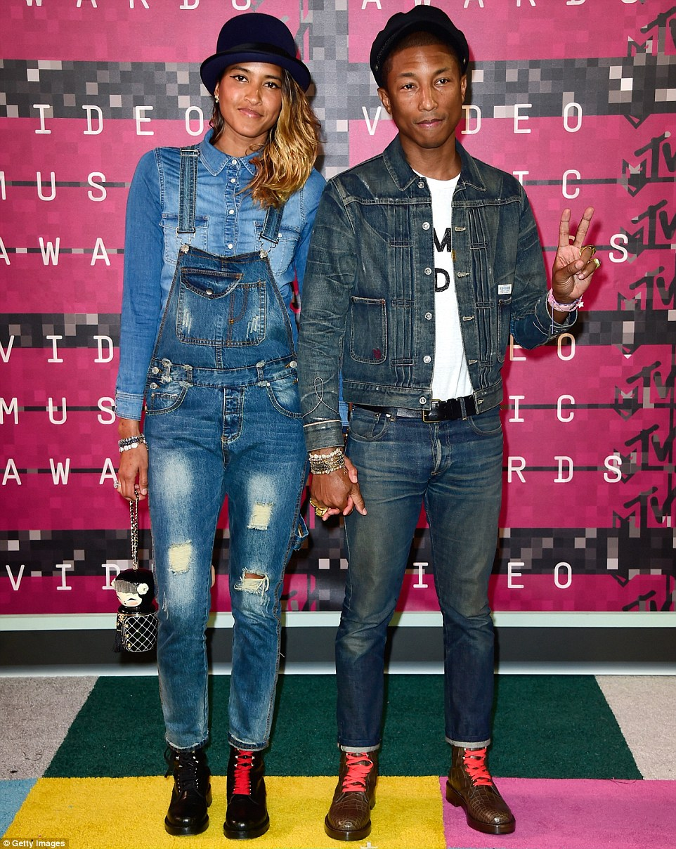 Coordinated couple: Pharrell Williams and his wifeHelen Lasichanh made a good match in double denim