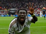 SWANSEA, WALES - AUGUST 30:  Swansea striker Bafetimbi Gomis celebrates after scoring the second swansea goal during the Barclays Premier League match between Swansea City and Manchester United on August 30, 2015 in Swansea, United Kingdom.  (Photo by Stu Forster/Getty Images)