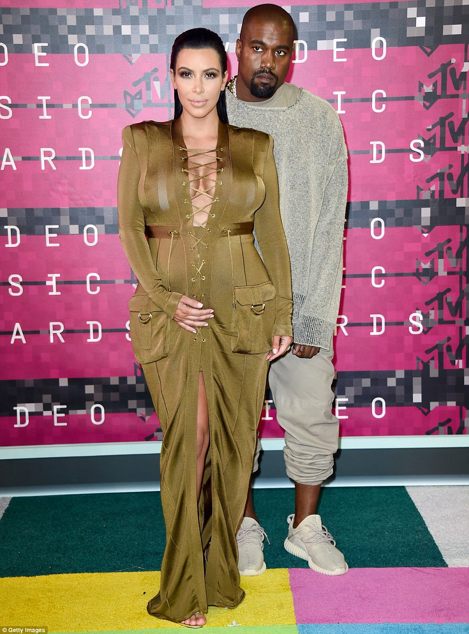 Right by his side: The 34-year-old was there to support her rapper other half, who received the Video Vanguard Award during the evening