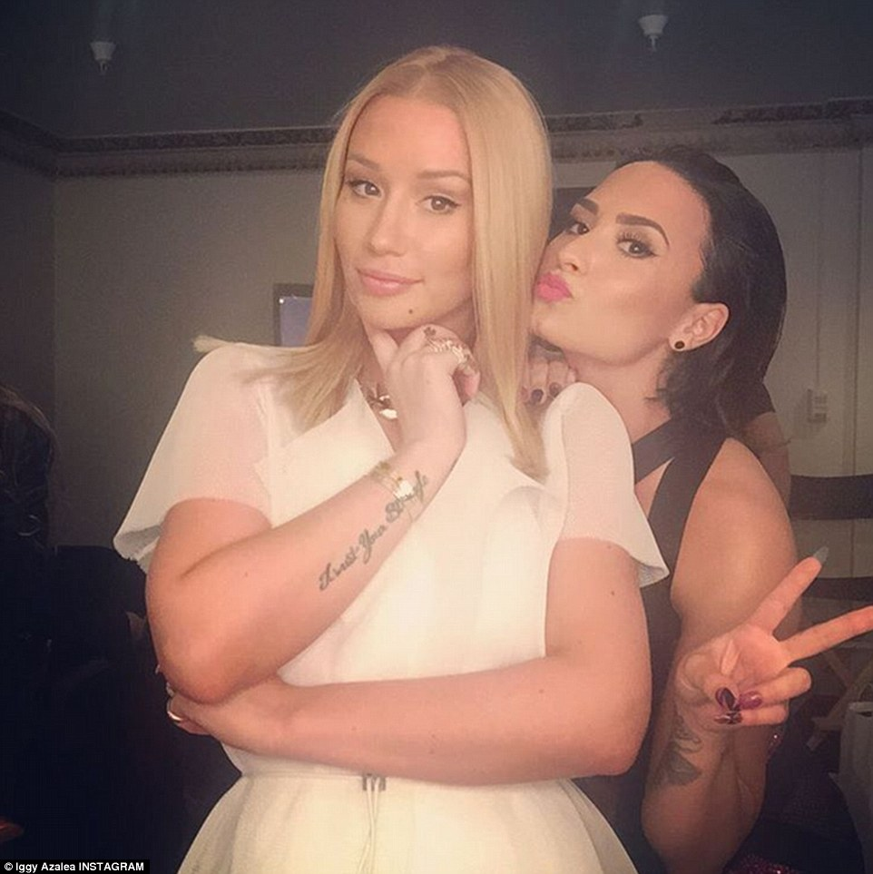 Lovely pair: Iggy and Demi posed together after their performance for an Instagram photograph