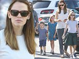 Jennifer Garner _and and new nanny- takes kids to Farmers market after hectic month during which her marriage fell apart following alleged extra marital affairs including one with their nanny Christine Ouzounian by her husband Ben Affleck august 30, 2015 X17online.com