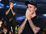 Justin Bieber reacts after performing at the MTV Video Music Awards at the Microsoft Theater on Sunday, Aug. 30, 2015, in Los Angeles. (Photo by Matt Sayles/Invision/AP)