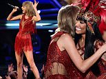 LOS ANGELES, CA - AUGUST 30:  Recording artists Taylor Swift (L) and Nicki Minaj perform onstage during the 2015 MTV Video Music Awards at Microsoft Theater on August 30, 2015 in Los Angeles, California.  (Photo by Kevin Winter/MTV1415/Getty Images For MTV)