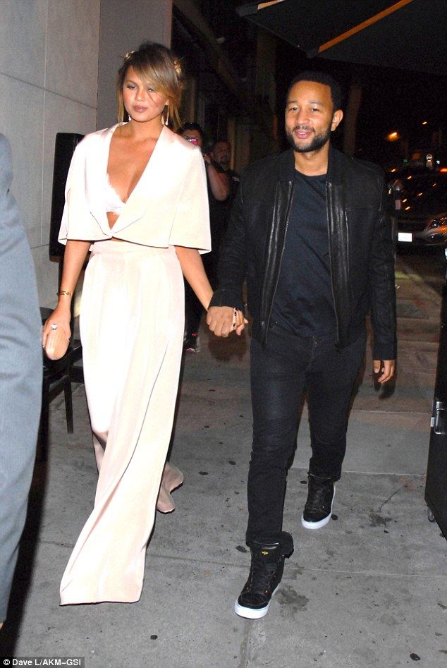 Joining the party: Kanye's pals John Legend and Chrissy Teigen also headed to Craig's after the VMAs
