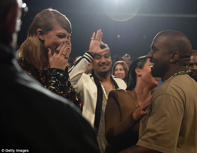 Talking point: Taylor looked shocked a few times during Kanye's speech, including when he swore and announced he might run for president