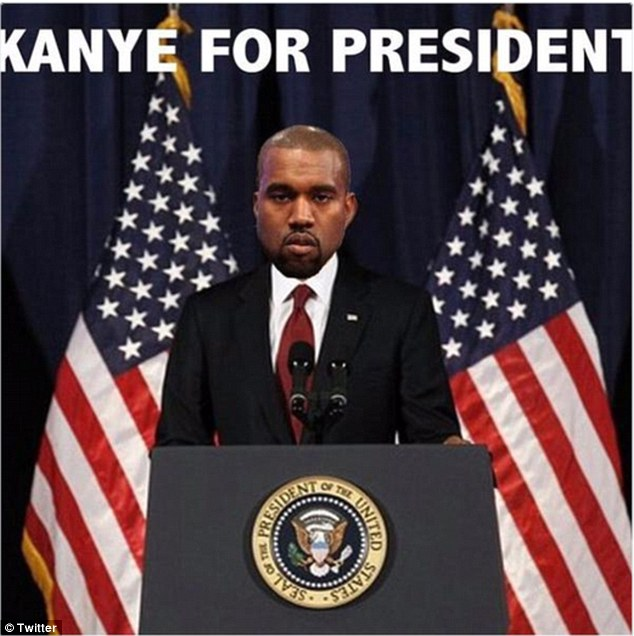 Political ambitions: Kanye has announced his latest step in his plan for world domination