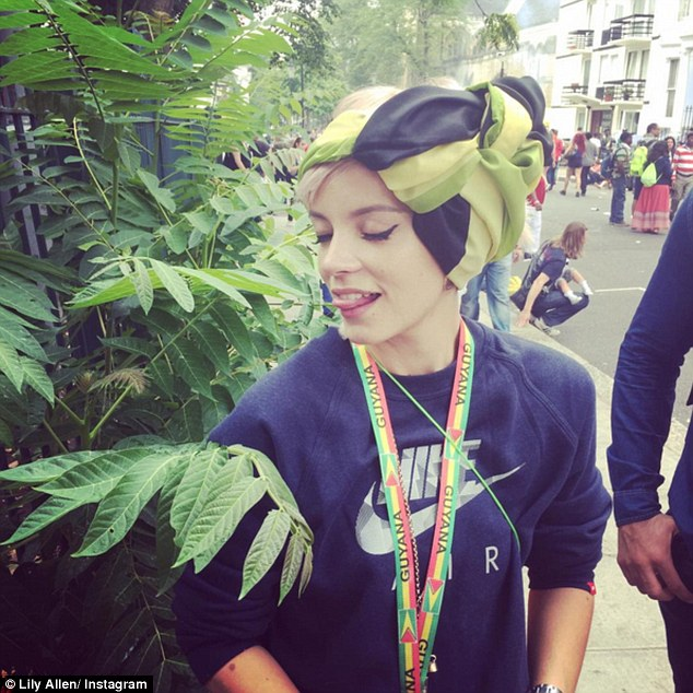 Wild weekend: Lily Allen is alleged to have filmed a Snapchat video showing her friend holding what appears to be a bag of white powder while partying at London's Notting Hill Carnival over the weekend