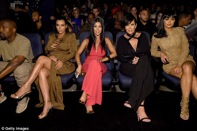 Support system: There to mark Kanye's special day was his mother-in-law Kris Jenner (centre) and sisters-in-law Kourtney Kardashian and Kylie Jenner