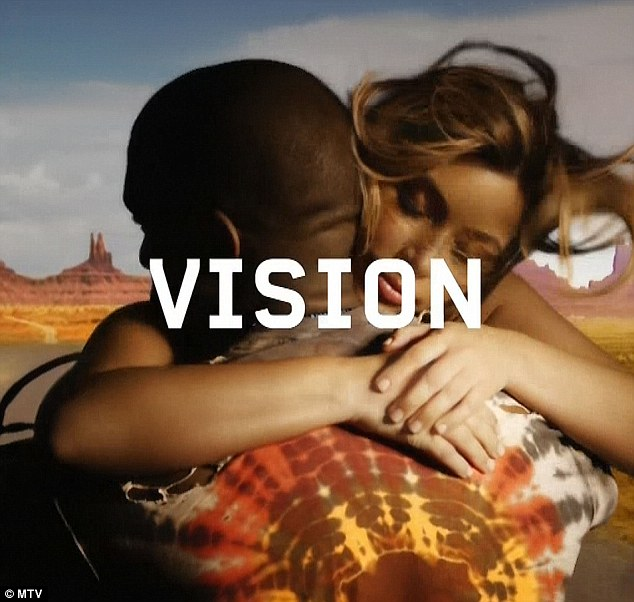 Video visionaries:As part of the musician's introduction, the reality star's infamous cameo in Kanye's Bound 2 video - which saw her ride topless and backwards on a motorcycle - flashed up across the giant screen
