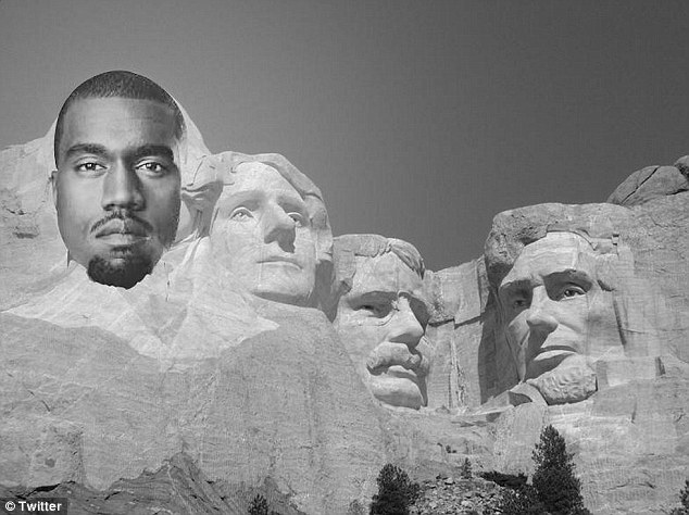 Already an icon: Kanye took his place on Mt. Rushmore, replacing George Washington