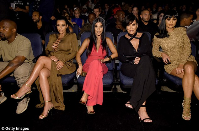 We are family: Kanye, Kim, Kourtney Kardashian, Kris Jenner and Kylie Jenner attended the show together
