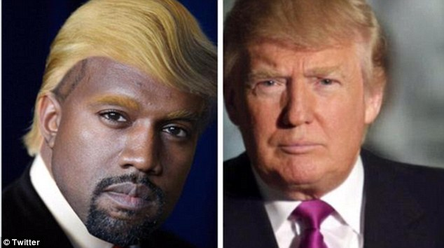 New look: Other memes doing the rounds showed what the style-conscious star would look like with 2016 hopeful Donald Trump's famous mop of hair